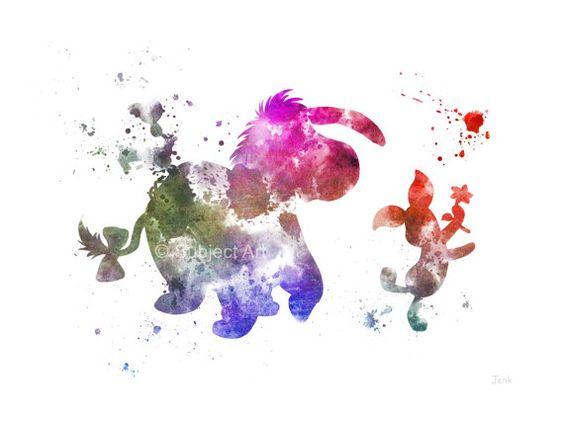 Abbildung für Ferkel und Eeyore-KUNSTDRUCK, Winnie The Pooh, Disney, Wall Art, Home Decor, Kinderzimmer