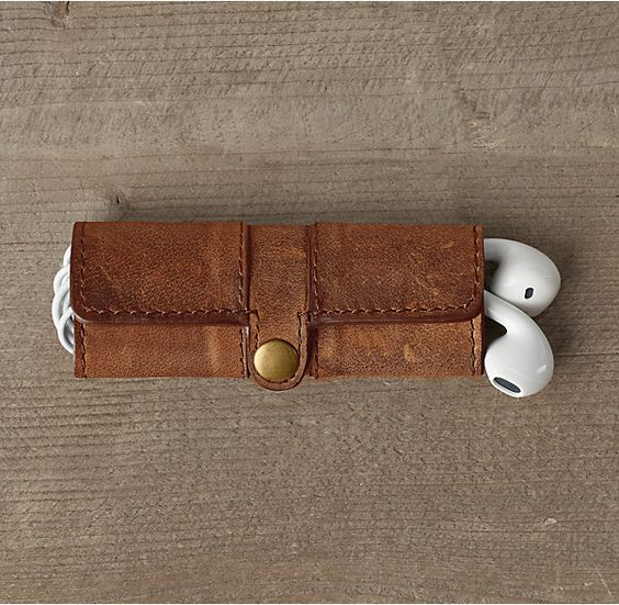 Italian Leather Single Snap Cord Holder - Chestnut