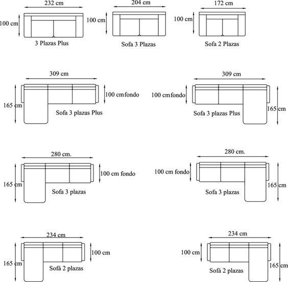 Medidas de sofa pesquisa google ergonomia pinterest for Cama 3 4 medidas
