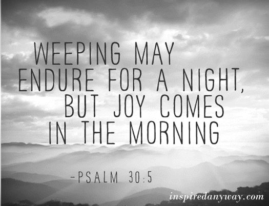 "The ""night"" = rest of life; the ""morning"" = reunion of eternity    #Promise of God:"