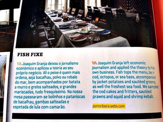 "Fish Fixe ""voa"" por todo o mundo....  Na revista Up - Magazine - Tap Portugal.  #fishfixerestaurant #restaurantefishfixe #oporto #porto #portugal #visitporto #turismodoporto #meetinporto #portoribeira #travel #pinterest #instagram #food"
