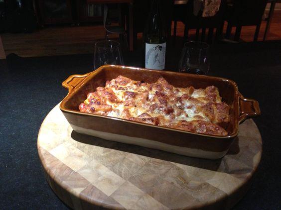 My Grown Up Baked Ziti. Rigatoni Gigante with a veal, pork and beef ragu. Shredded & fresh mozzarella, Parmigiano‑Reggiano and Locatelli Pecorino Romano. YUM.