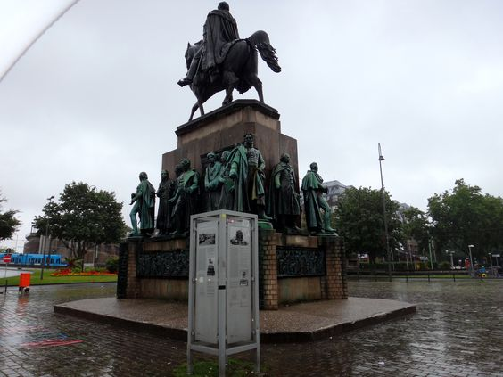 Statue of Frederick William III of Prussia  by Gustav Blaeser in the Heumarkt in Cologne, erected to the glory of Prussia..... The base is surrounded by statues of great Prussian reformers such as Stein, Hardenberg, Schön and Humboldt.