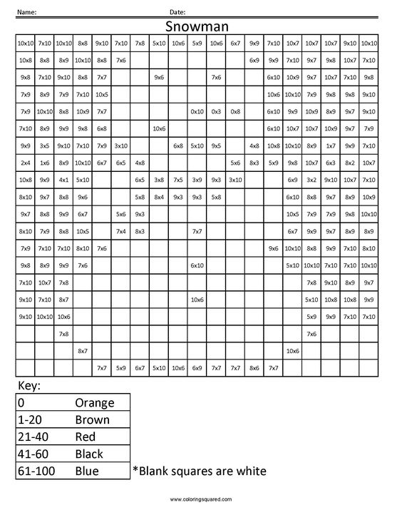Snowman Holiday Multiplication Worksheet teaching – Holiday Multiplication Worksheets