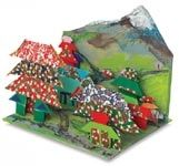 Origami Village Diorama. A single, simple origami pattern is used to make multiple buildings. Students study perspective and structure of a village. Downloadable lesson plan from Dick Blick.