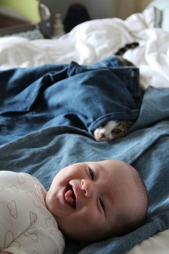 Ik smelt altijd voor lachende babies, de sneeky kat daarachter is ook leuk