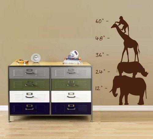 Safari Growth Chart Sticker Wall Decal Nursery Baby Boy Girl Teen Zoo Room