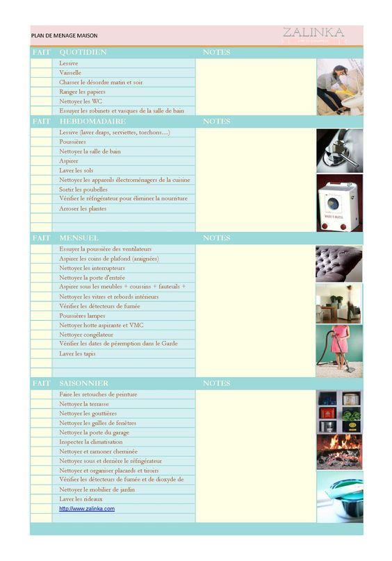 Pour télécharger le plan de ménage de base de la maison pour un nettoyage :quotidien, hebdomadaire, mensuel et saisonnier cliquez ci-après sur le format choisi(...)