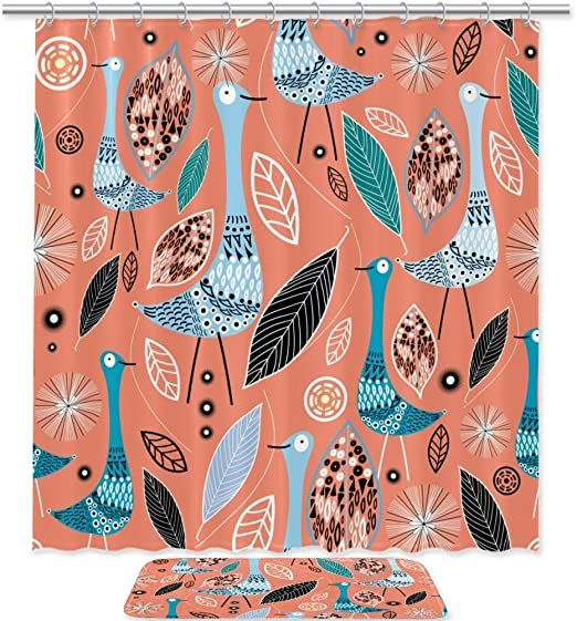 Dragon Sword Shower Curtain Set Abstract Birds With Leaves
