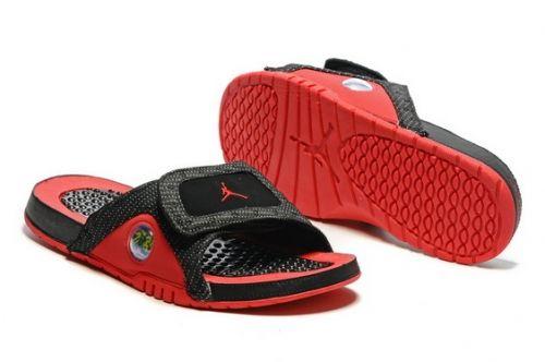 Really Cheap Air Jordan Hydro 13 Slide Sandals Black Red Mysecretshoes