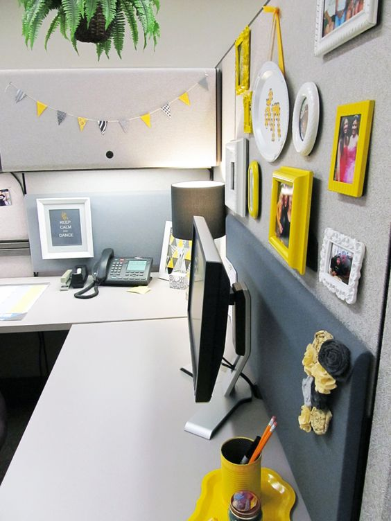 Cubicle Décor Ideas To Make Your Home Office Pop: Yellow Picture Frames, Work Stations And Cube Decor On