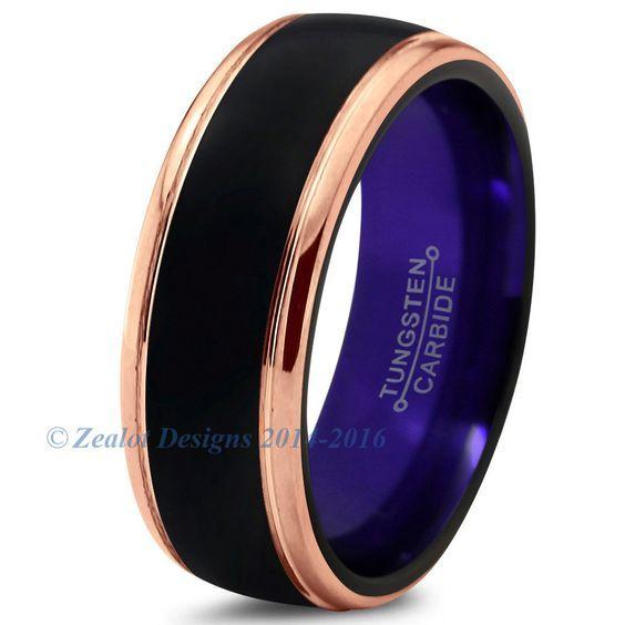 Men's Purple Chromacolor Black Tungsten Beveled Rose Gold Plated Ring