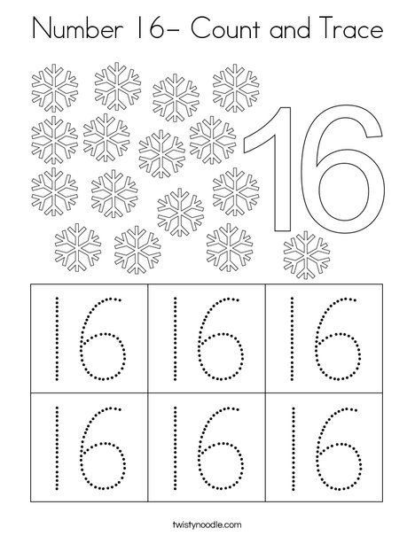Number 16 Count And Trace Coloring Page Twisty Noodle Numbers Preschool Number 16 Numbers For Kids