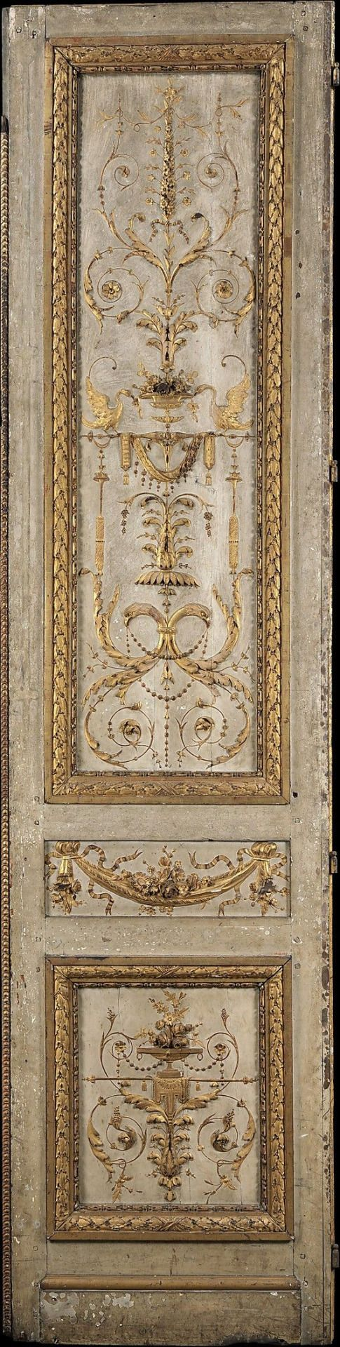 Door panel from the tuileries palace silver gilt on wood for French style entry doors