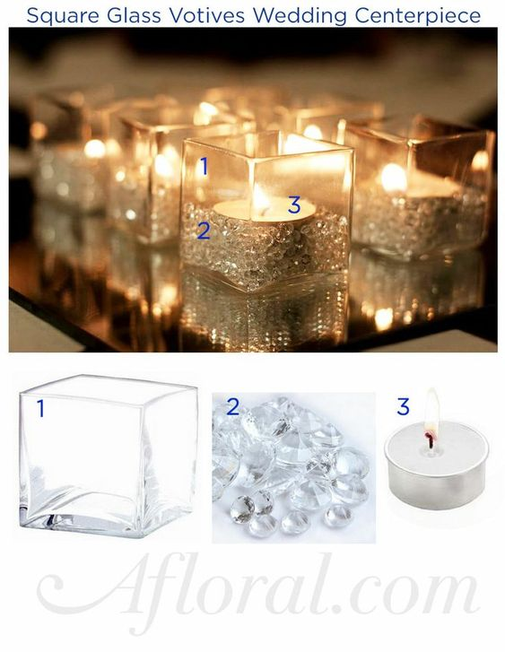 Create wedding decorations with glass containers and vase