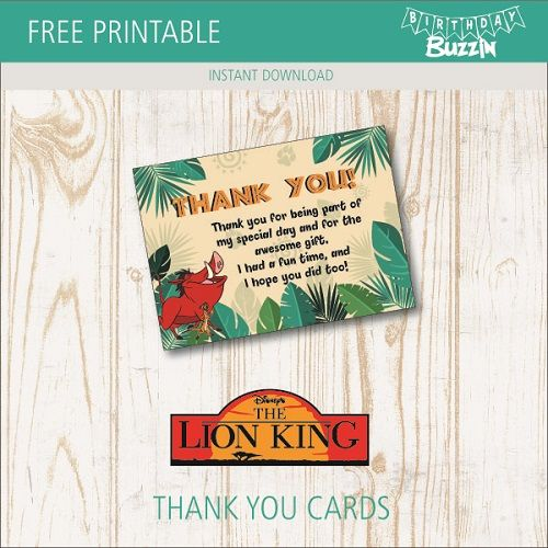 Free Printable Lion King Thank You Cards Birthday Buzzin Lion King Birthday Lion King Party Lion King Baby Shower