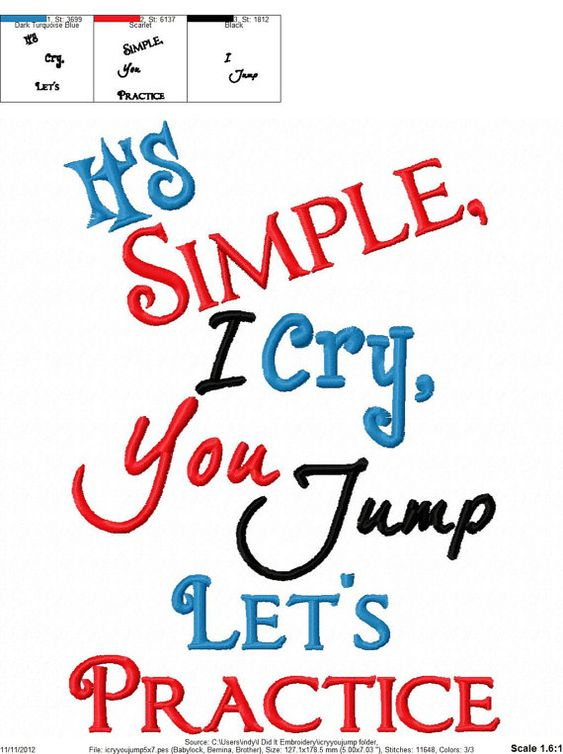 Baby Embroidery Design I's Simple I Cry You par sosassyembroidery lol !
