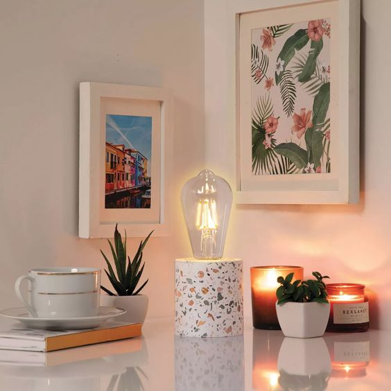 Terrazo Novelty Speckled Table Lamp White - West & Arrow : Target