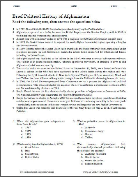 Worksheets 6th Grade Social Studies Printable Worksheets brief political history of afghanistan multiple choice worksheet free to print pdf file