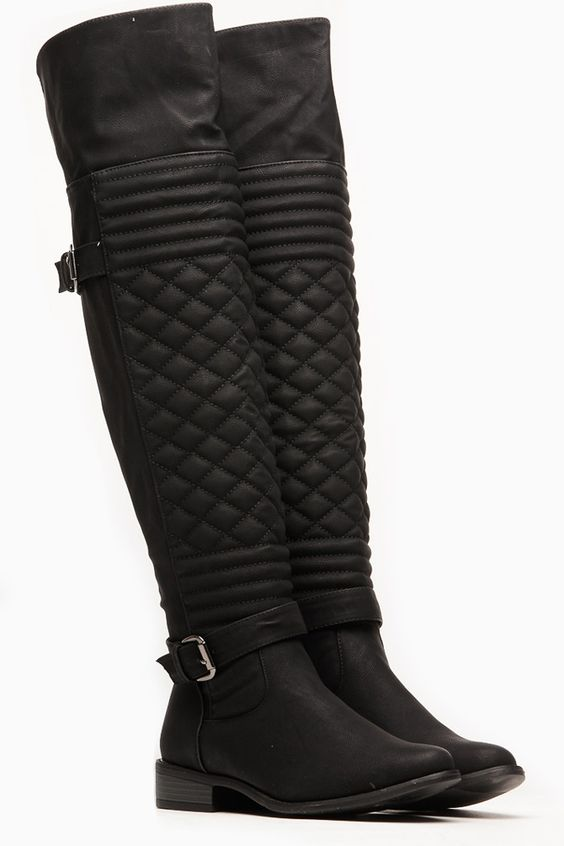Wild Diva Quilted Front Faux Leather Knee High Boots @ Cicihot ...