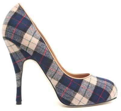plaid high heels, with a little blue school girl skirt, white collared shirt and red tie = ♥♥♥