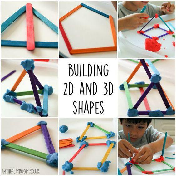Building 2d 3d Shapes With Craft Sticks Pinterest
