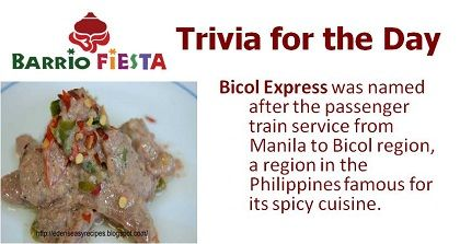 """Bicol Express in Mama Chit"" is thin slices of beef, squid and shrimp simmered in spicy coconut milk sauce. And here's an additional fact about this dish you might need to know.    Try this spicy dish at Barrio Fiesta Dubai! :)"