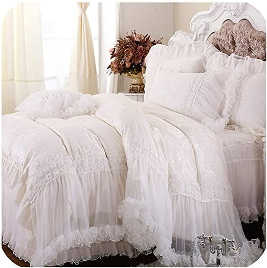 Minipear 2020 Luxury White Lace Ruffle Cake Bedding Set Queen King Size Bedding For Wedding Princess D Queen Bedding Sets White Lace Bedding Bed Comforter Sets