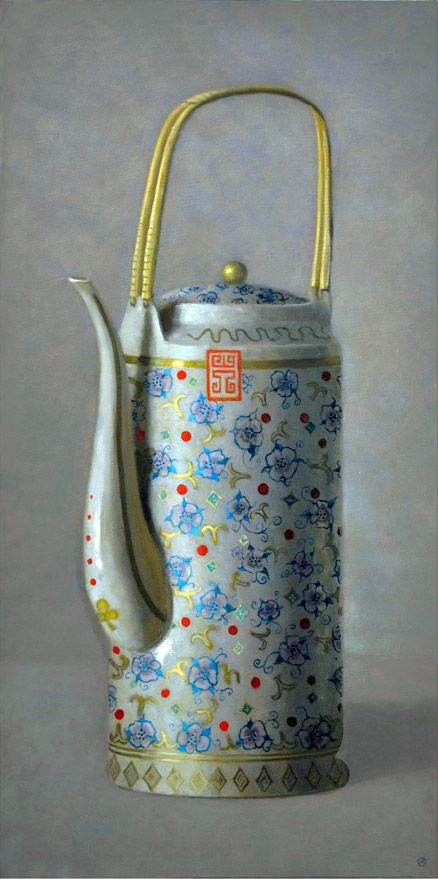 Olga Antonova, Two Chinese Teapots, Oil/Canvas 32 x 21 inches