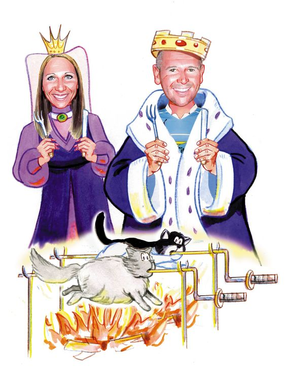 I love this one, the couple wanted to be shown as King and Queen roasting their cats...ummm it means something to them!