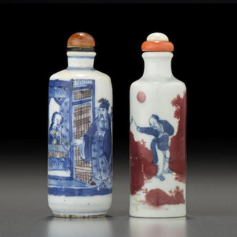 Two underglaze blue and copper red porcelain snuff bottles Jingdezhen kilns, 1820-1900