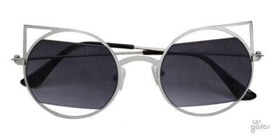Óculos De Sol Gatinha Redondo Vazado Com Lente Cortada Em Metal || Ui! Gafas