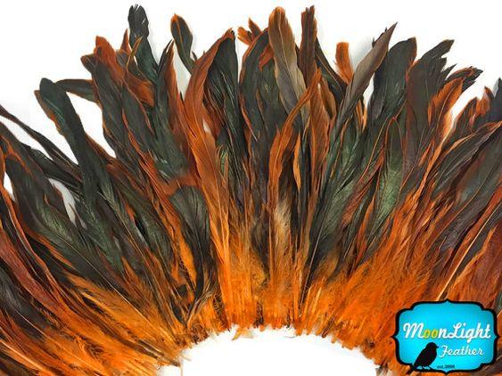 Long Orange Feathers, 2.5 Inch Strip - ORANGE Half Bronze Coque Tail Strung feathers : 3783