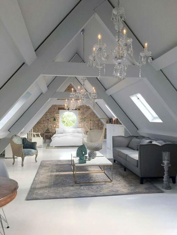 This Stunning Conversion Makes A Magical Feature Of The A Framed Ceiling Attic Rooms Attic Bedroom Attic Master Bedroom