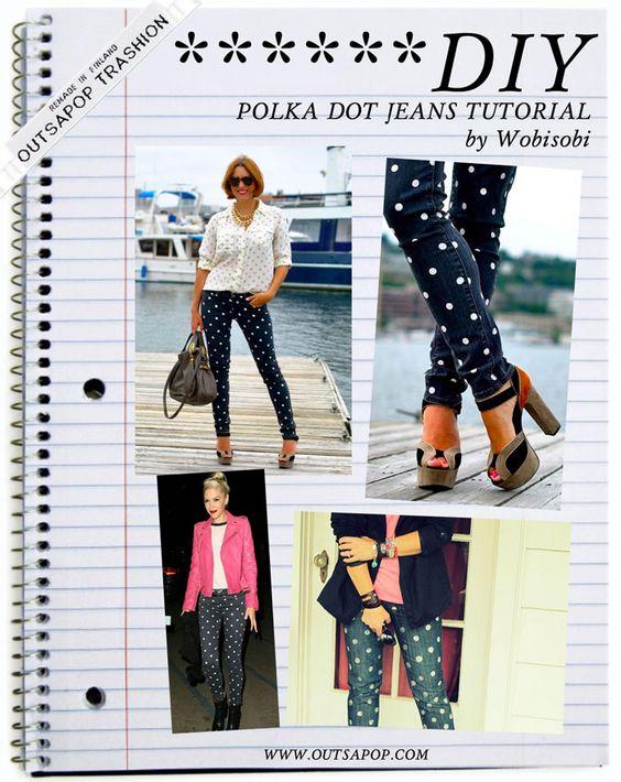::: OutsaPop Trashion ::: DIY fashion by Outi Pyy :::: DIY tutorial - polka dot jeans