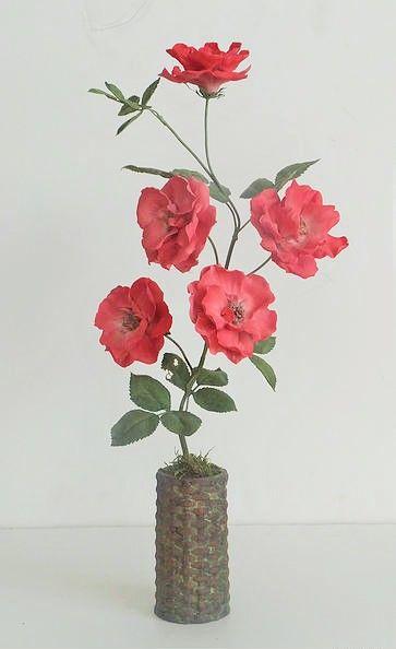"""Red Rose - Porcelain, glazes, painted copper, terracotta, 19"""" - Vladimir Kanevsky, Fine Porcelain"""