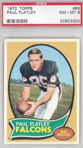 1970 Topps Football 66 Paul Flatley Falcons PSA 8 Near-Mint to Mint by Topps. $10.00. This vintage card featuring Paul Flatley is # 66 from the 1970 Topps Football set