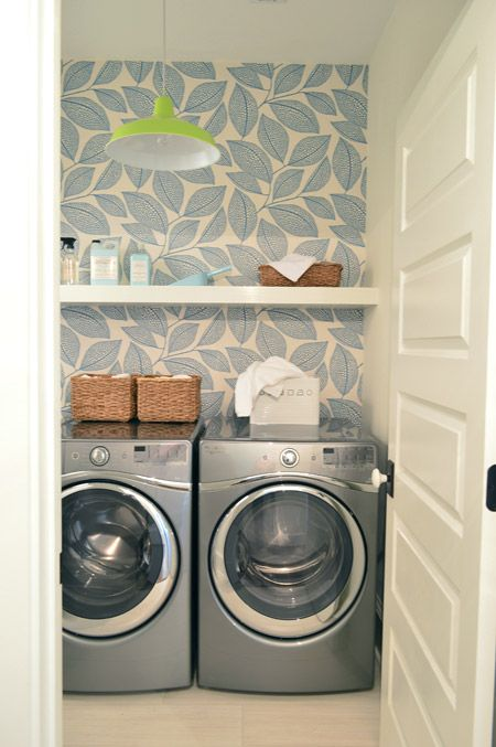 patterned wall in laundry room, Navy accent walls, weathered wood, etc all in one house. Check it out