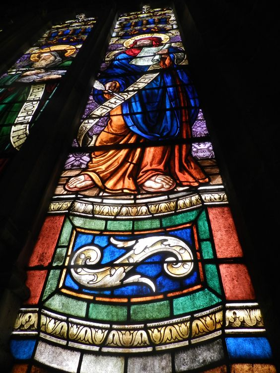 Detalle-Vidriera medieval de la Catedral de Sevilla