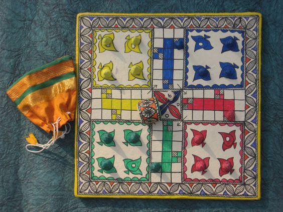 LUDO / PACHICI Madhubani painting Ludo or by COLOURMEHAPPYY