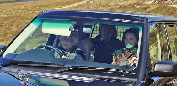 The Queen drove the Duchess of Cambridge to a picnic lunch with Prince William in the hills above Loch Muick on the Balmoral estate:
