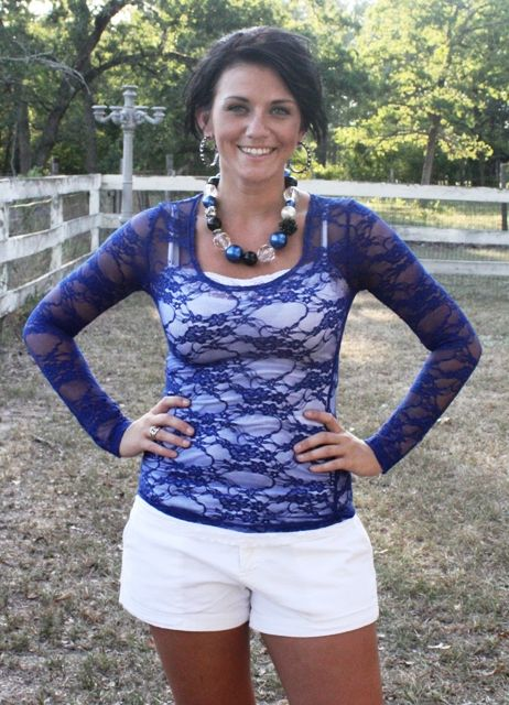 Royal Blue Long Sleeve Lace $13.95-$20.95 www.gugonline.com