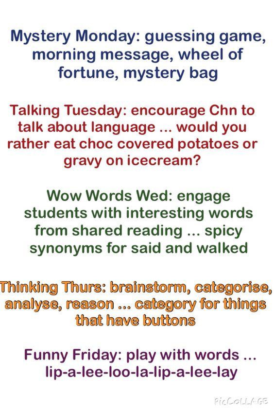 Literacy through the week!