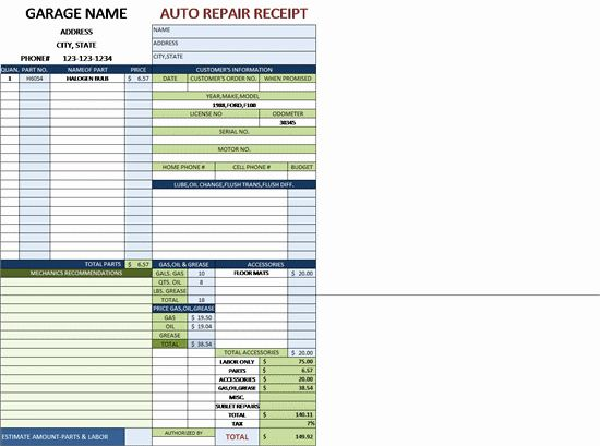 Automotive Repair Invoice Templates Fresh Auto Repair Invoice For A Garage With Tax Invoice Template Invoice Template Word Invoice Layout