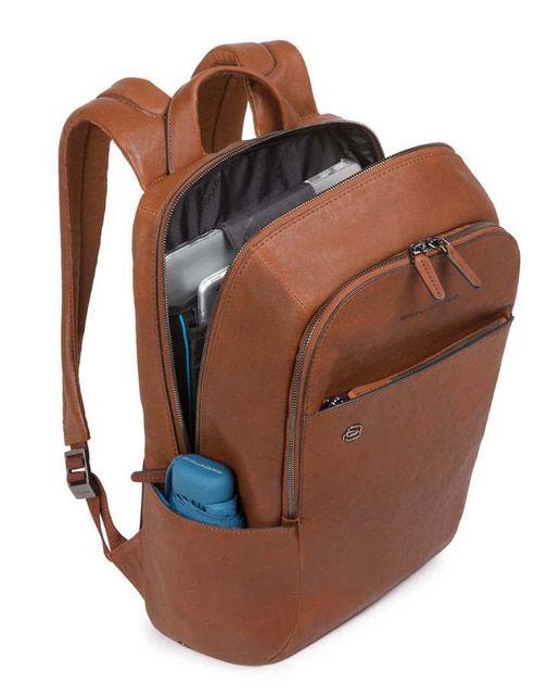 Mochila De Hombre Piquadro De Piel En Marrón Con Cremallera Y Espacio Para El Portátil Square Backpack Mens Leather Bag Mens Backpack Fashion