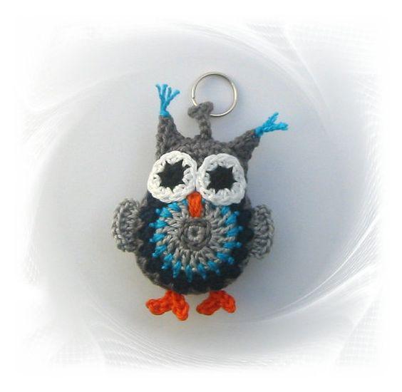 Eule Schlüsselanhänger crochet owl keychain owl owl von SavoeDesign
