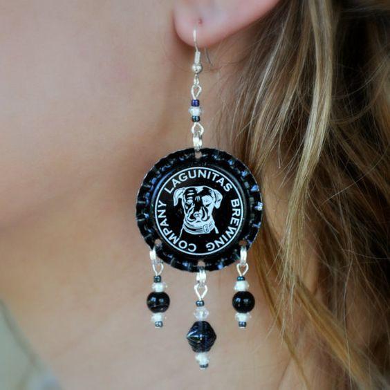 Bottle Cap Earring Lagunitas Beer Black by SwagBrewery on Etsy, $15.00