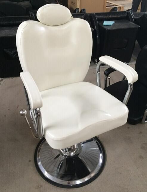 Astonishing Height Adjustable White Leather Barber Chair Comfortable Pabps2019 Chair Design Images Pabps2019Com