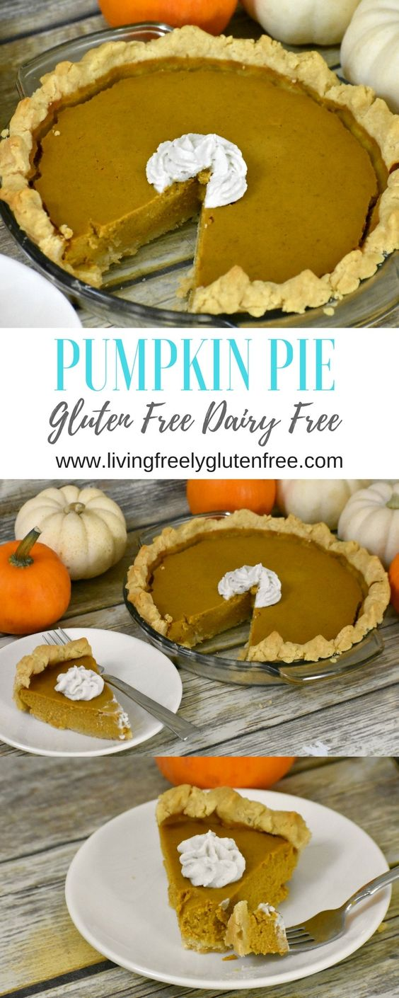 Pumpkin Pie- Gluten Free & Dairy Free - Living Freely Gluten Free. This easy gluten free and dairy free pumpkin pie recipe will impress everyone! The flavors are amazing and it melts in your mouth. #glutenfree #dairyfree #pumpkinpie #easypumpkinpie #glutenfreepumpkinpie