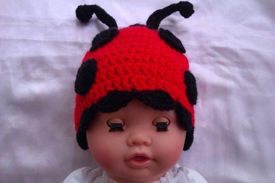 Babymütze gehäkelt Marienkäfer, rot,  ladybug